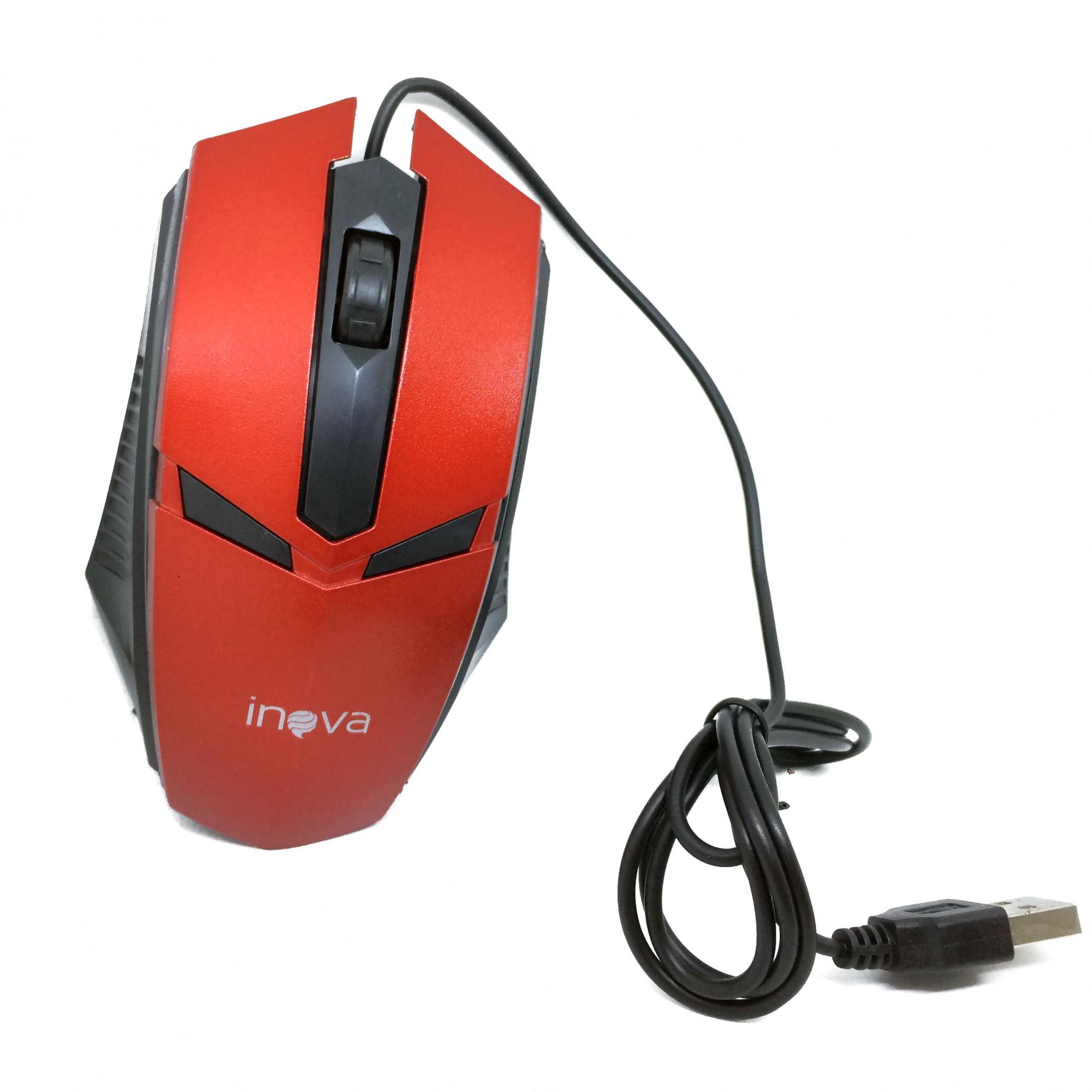 Mouse Óptico Com Fio USB 800Dpi Inova MOU-6935 Vermelho Preto - INOVA BLISTER