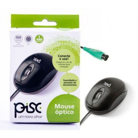 Mouse Óptico Pisc PS2 - Preto 1808