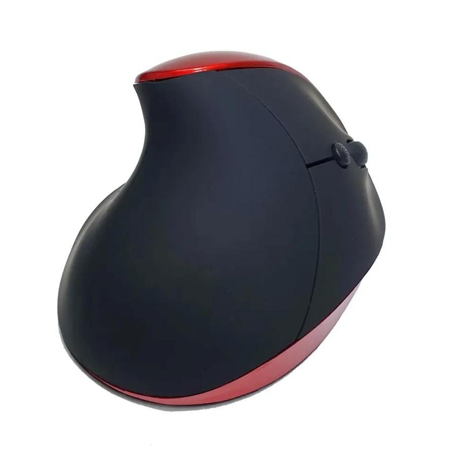 Mouse Óptico Vertical Ergonômico X ZHANG Sem Fio Recarregável Vermelho/Preto - XZ-882