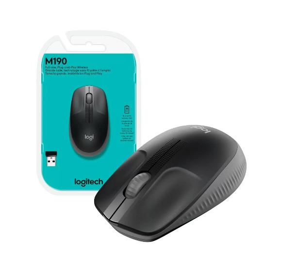 Mouse Sem Fio Wireless Logitech 1000DPI Preto - M190