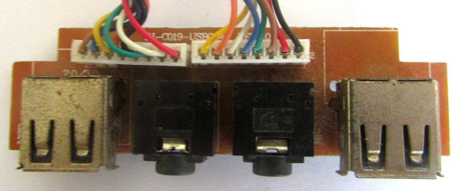 Placa Conector 2 Entrada Áudio e 2 Entrada USB P/ Gabinete SJ-0019-USB004(semi novo)