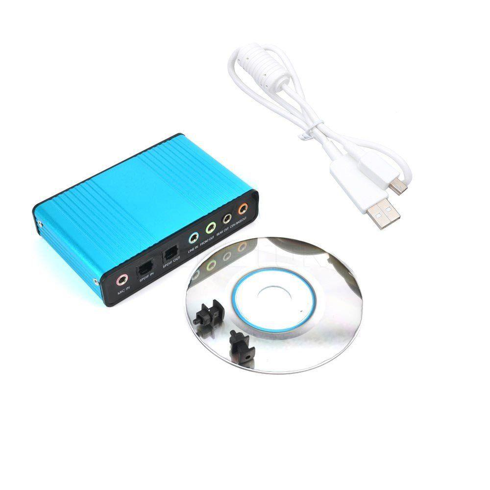 Placa de som Externa USB 2.0 6 Canais Entrada e Saida SPDIF Ótica