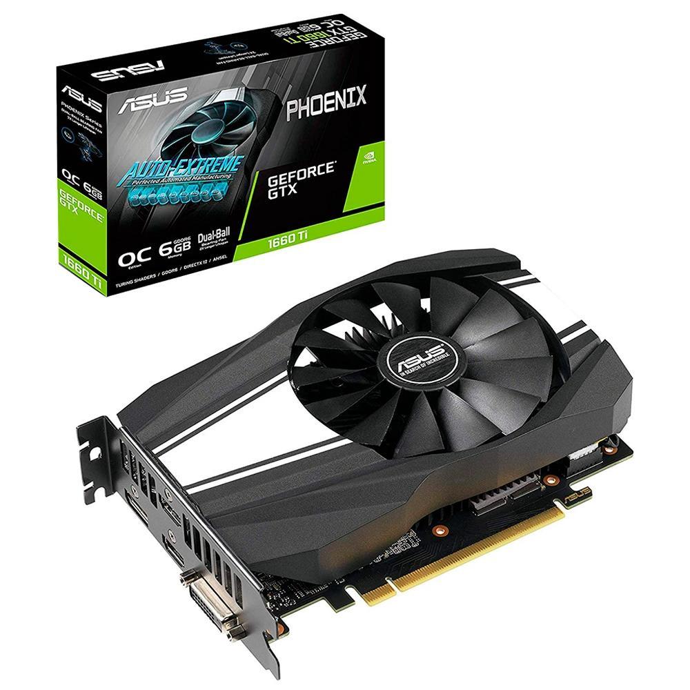 Placa de Vídeo Asus NVIDIA GeForce GTX 1660 Ti OC Phoenix 6GB GDDR6 PH-GTX1660TI-O6G