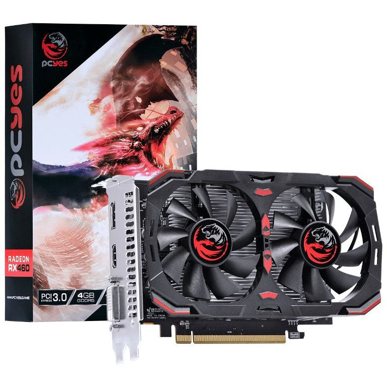 Placa De Vídeo PcYes AMD Radeon RX 460 4GB GDDR5 128 Bits Dual Fan Pj460rx12804g5DF