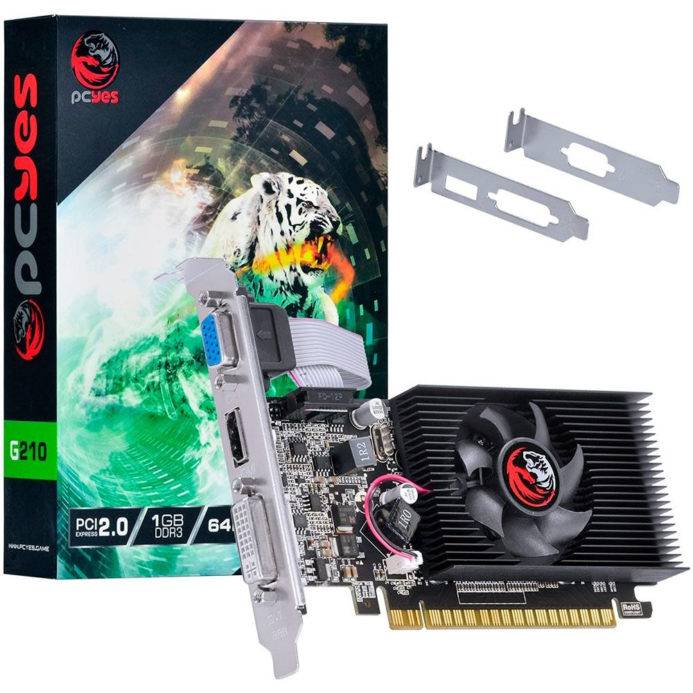 Placa de Vídeo PCYes NVIDIA GeForce G210 1GB, DDR3 - PA210G6401D3LP