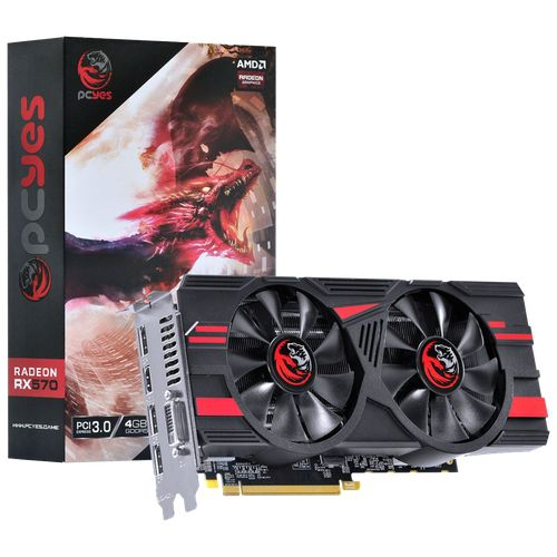 Placa de Vídeo Radeon PCYes RX 570 4GB Dual Fan PJ570RX256GD5
