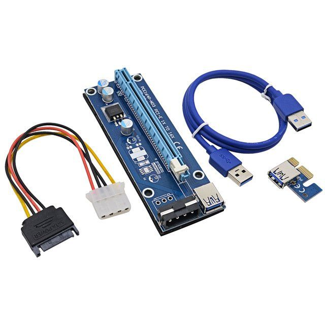 Placa Extensor Riser + Cabo de alimentação USB 3.0 Mineração p/ Bitcoin Ethereum