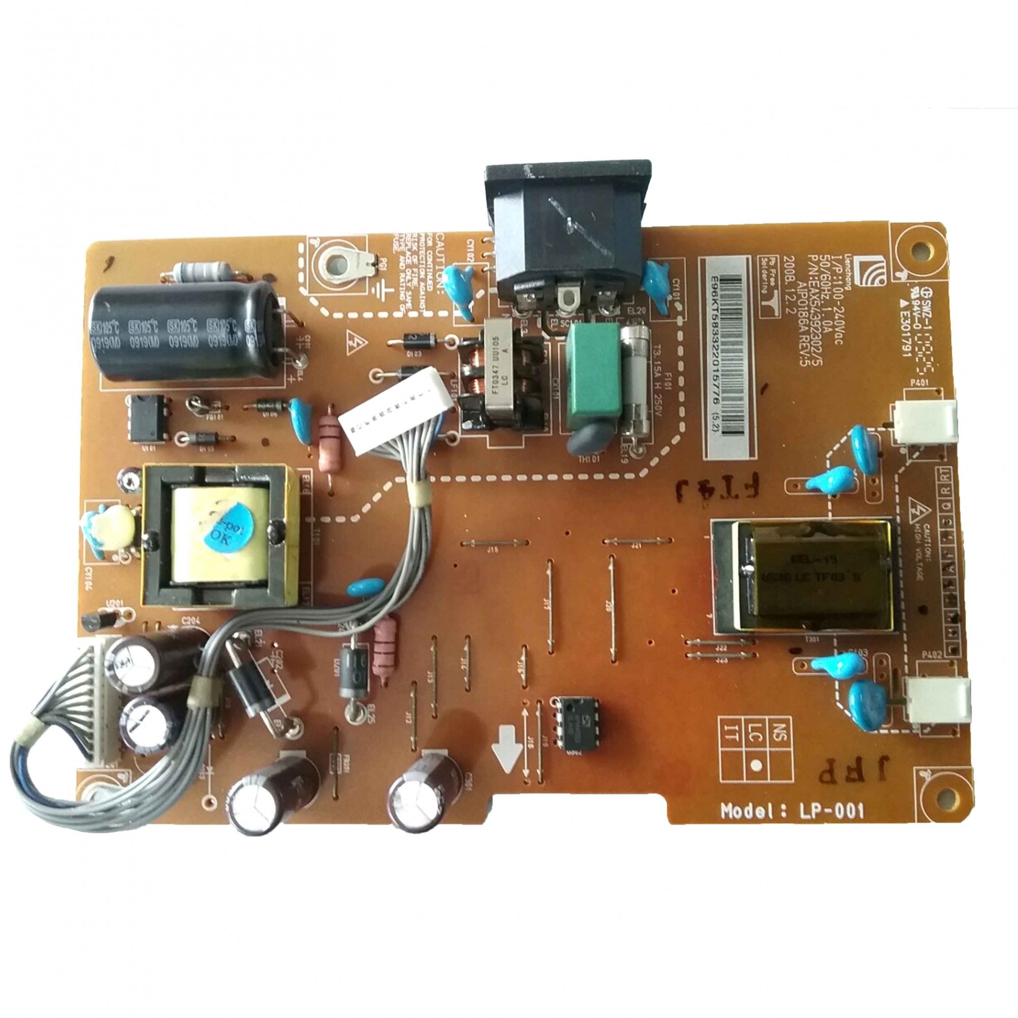 Placa Fonte Monitor LG Flatron W1953T PN:EAX54392302/5 - Retirado