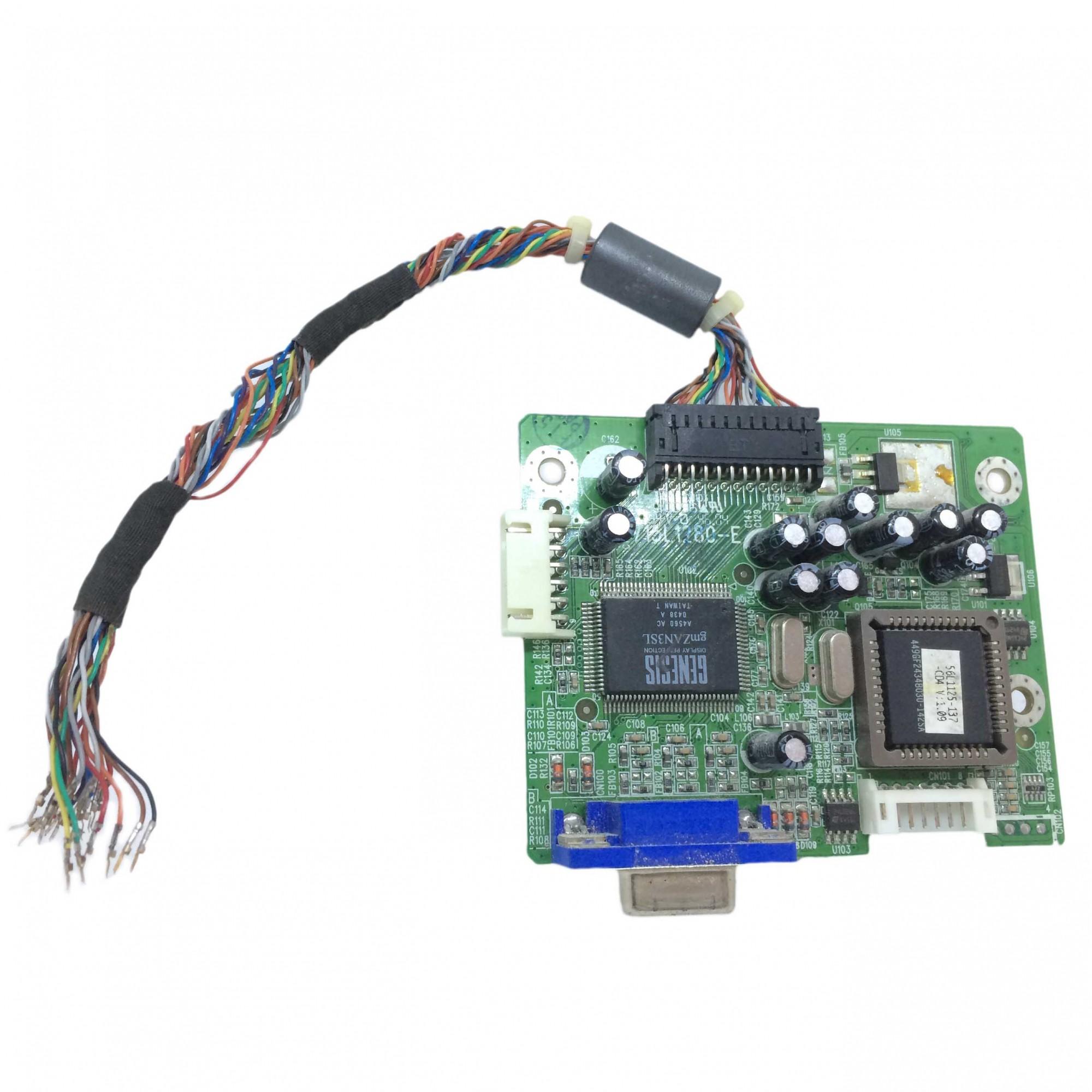 Placa Lógica Monitor + Cabo Flat (sem conector) Dell E153fpc PN:715l1280-e - Retirado