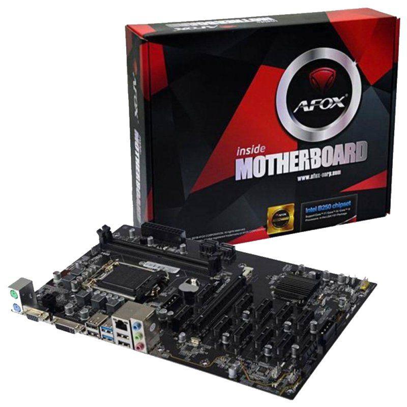 Placa Mãe Afox IB250-BTC Mining B250 12P LGA1151 2x DDR4 PCI-E VGA DVI-D até 11 VGA PCI Express Mineração Bitcoin Ethereum
