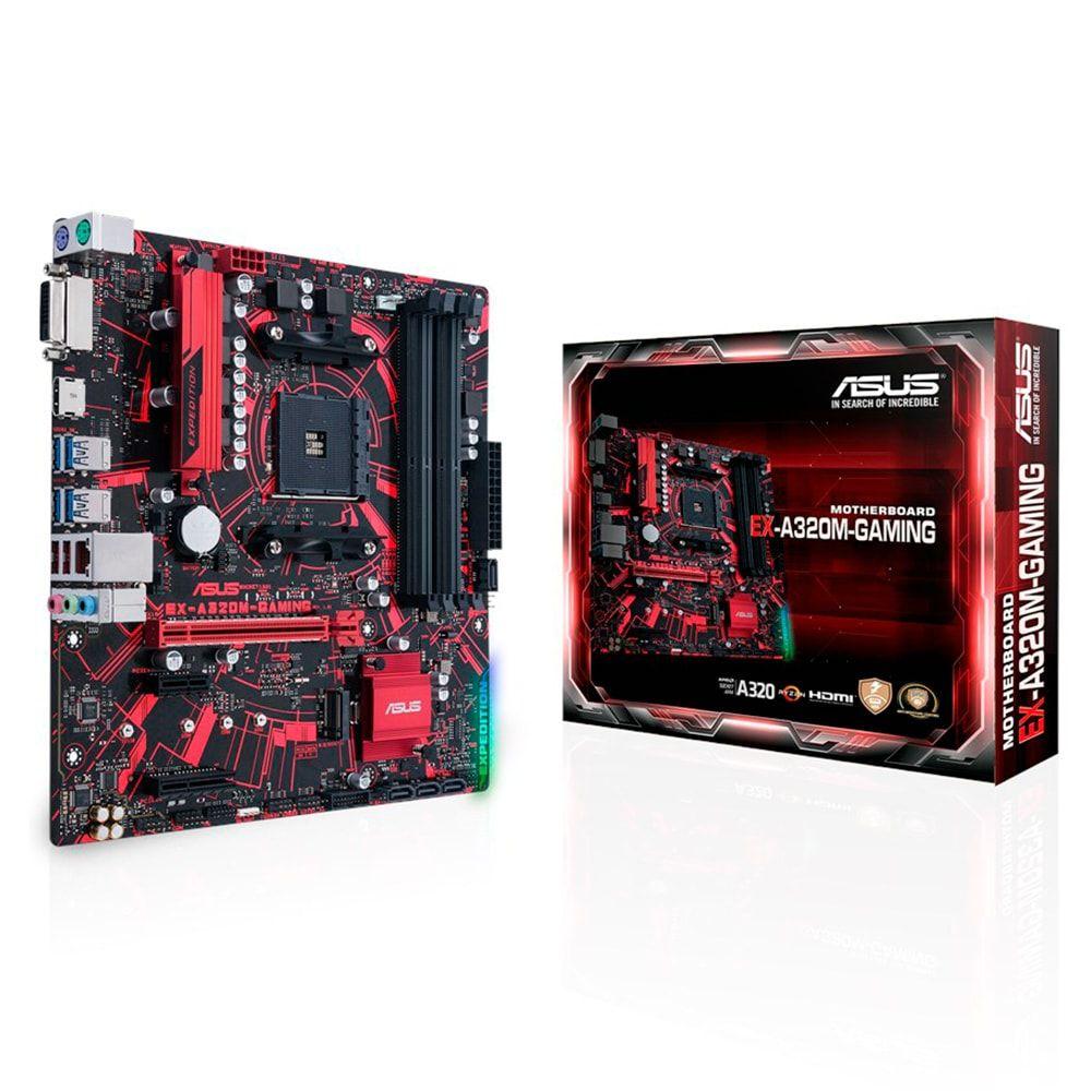 Placa-Mãe ASUS p/ AMD AM4 mATX EX-A320M-GAMING, DDR4