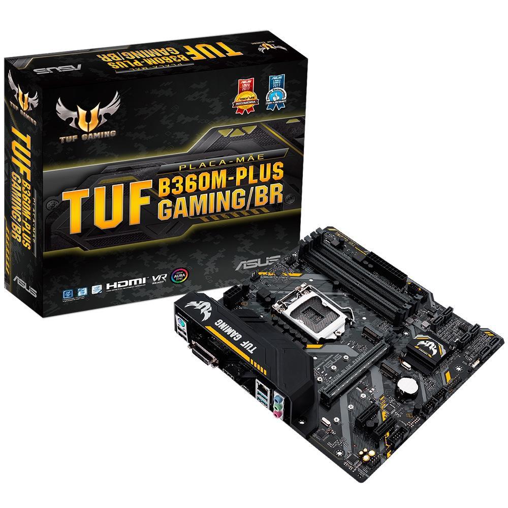 Placa-Mãe Asus TUF Gaming/BR, Intel LGA 1151, mATX, DDR4 - B360M-Plus