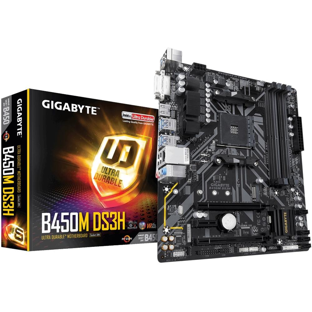 Placa-Mãe Gigabyte B450M DS3H, AMD AM4, mATX, DDR4