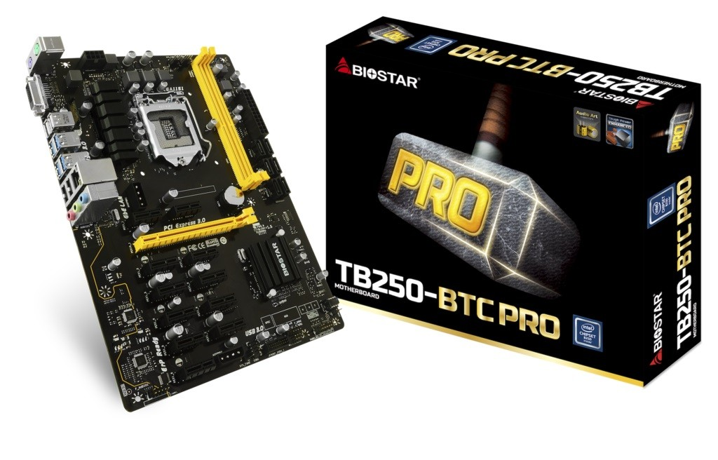 Placa Mãe P/ Mineração Biostar TB250-BTC Pro 1151 12 Pci express