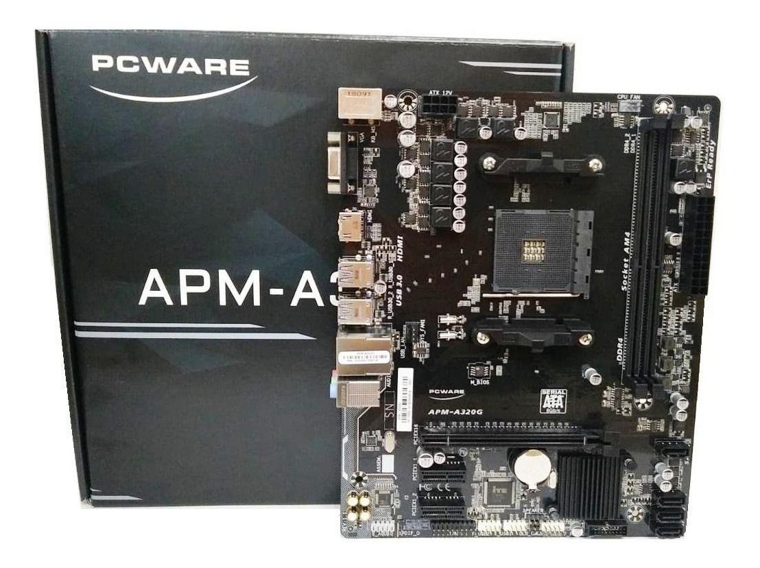Placa-mãe Pcware Apm-a320g Am4 Ddr4 p/ Ryzen 2000 Ryzen 3000
