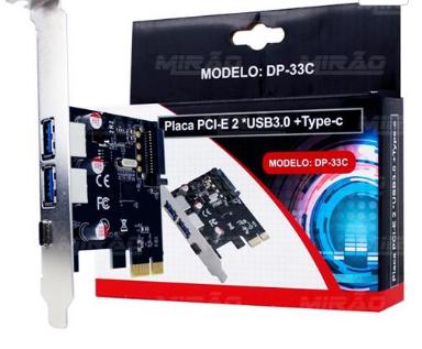Placa PCI Express USB 3.0 com 2 portas + USB 3.1 TIPO C Kit Low Profile DP-33 4827