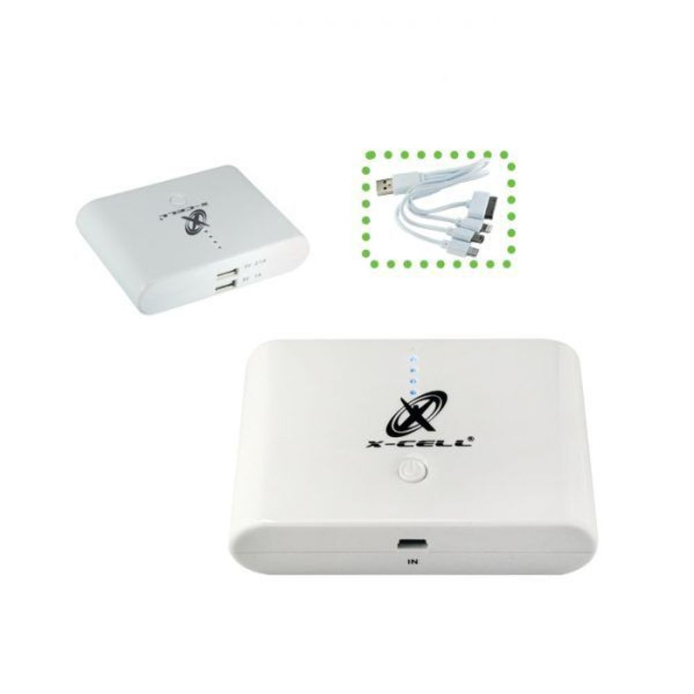 Power Bank 10400 Mah C/ 4 Conectores + 2 Portas Usb XC-BANK-05 Branco