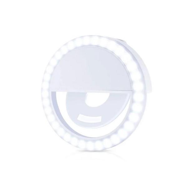 Ring Light Portátil Selfie Celular Clip Branco - EC10080