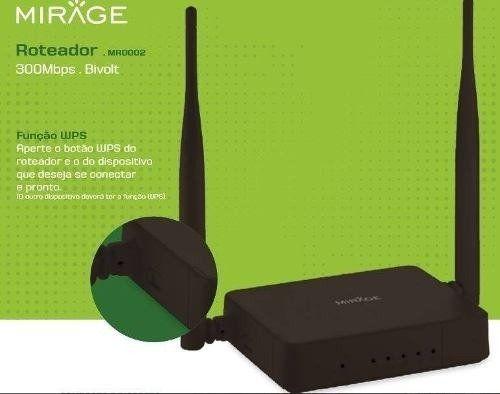 Roteador Wireless Mirage 2 Antenas 300mps 4 Portas Preto Mr0002