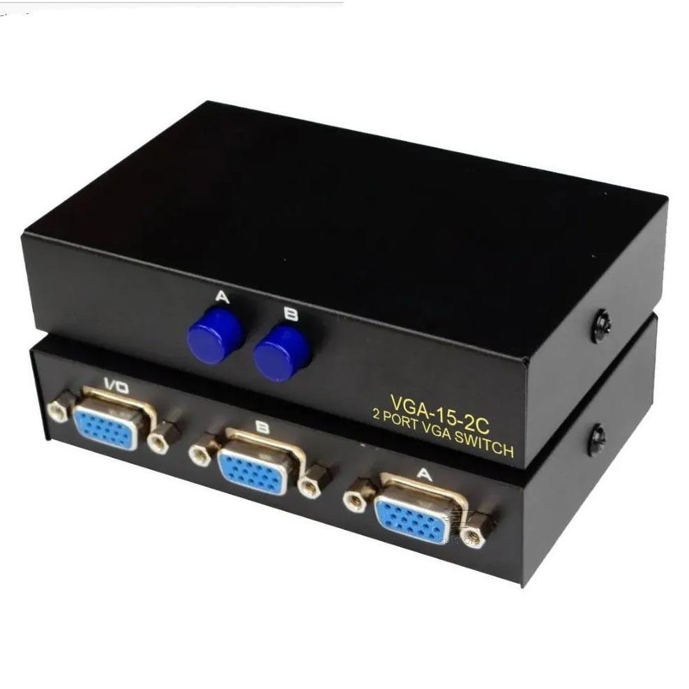 Switch VGA F3 Seletor Chaveador 2 Entradas 1 Saída VGA-15-2c Preto - JC-SW-VGA