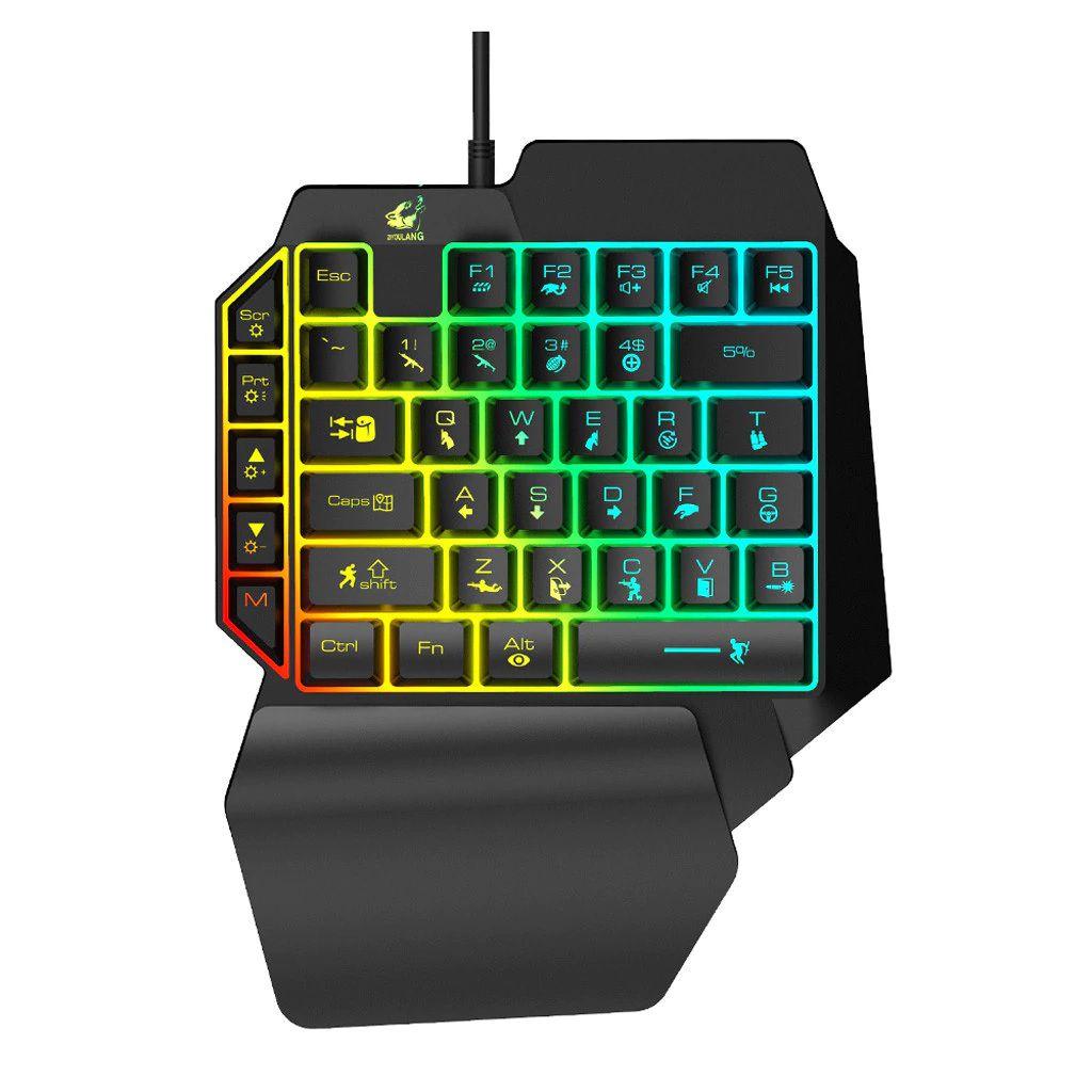 Teclado Gamer de mão única Iluminado 39 teclas T15 PUBG Zyoulang