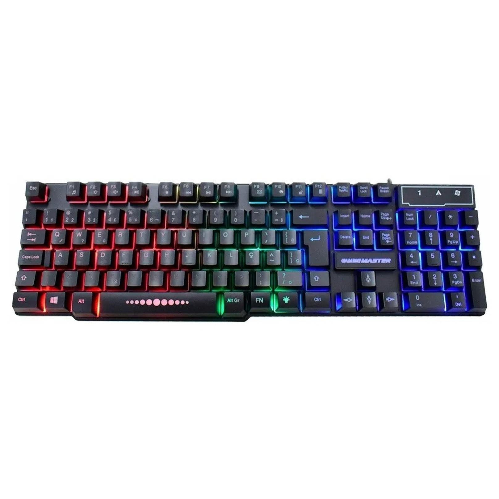Teclado Gamer Km52 K-mex Led RGB Usb Semi Mecanico Abnt2 - KM-5228