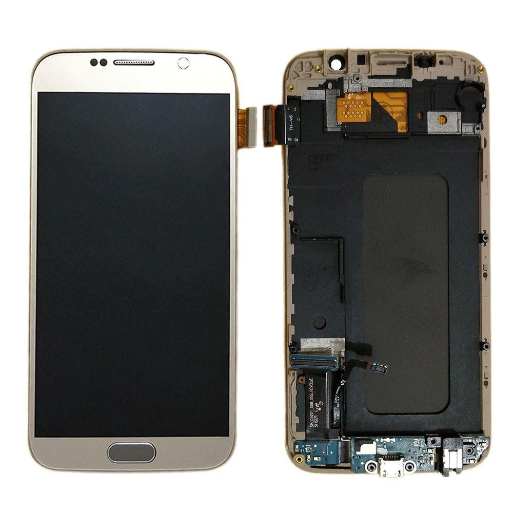 Tela de Lcd Frontal Samsung S6 G920 G920F Primeira Linha c/ Aro e Flex Carga Dourado