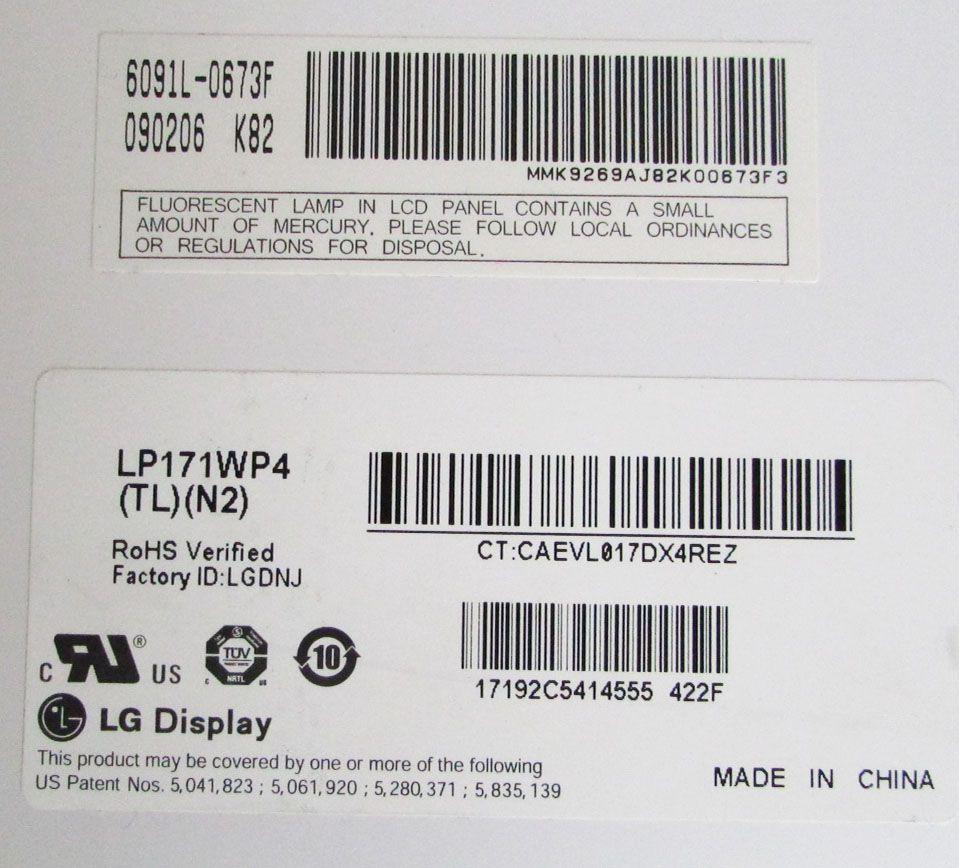 Tela Lcd 17.1 - Lp171wp4 (tl)(b1), Sony, Hp, Acer, Lg (semi novo)