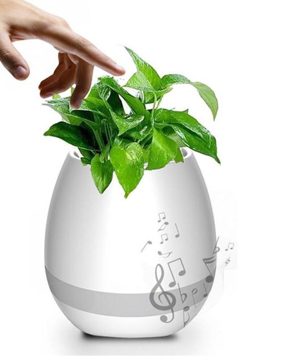 Caixa de som bluetooth formato vaso Inteligente p/ plantas com LED