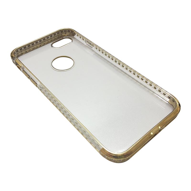 Capa Bumper TPU Premium com Cristais para iPhone 7 - Dourada