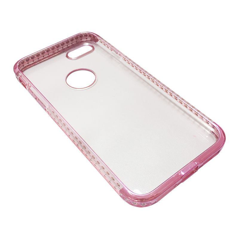 Capa Bumper TPU Premium com Cristais para iPhone 7 - Pink
