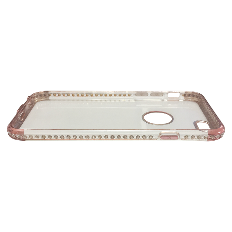 Capa Bumper TPU Premium com Cristais para iPhone 6 6S - Gold Rose