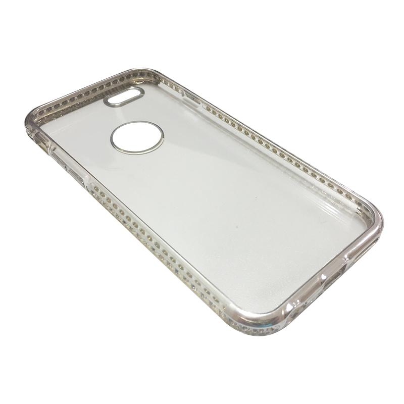 Capa Bumper TPU Premium com Cristais para iPhone 6 6S - Prateada