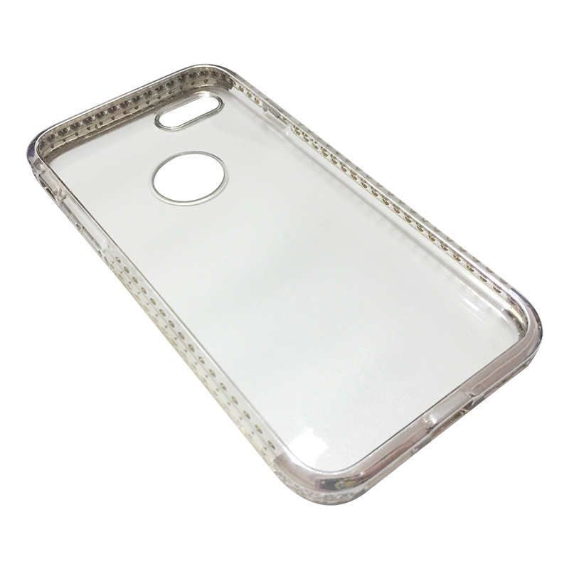 Capa Bumper TPU Premium com Cristais para iPhone 7 - Prateada