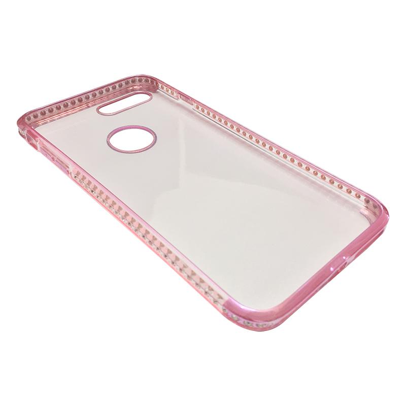 Capa Bumper TPU Premium com Cristais para iPhone 7 Plus - Pink