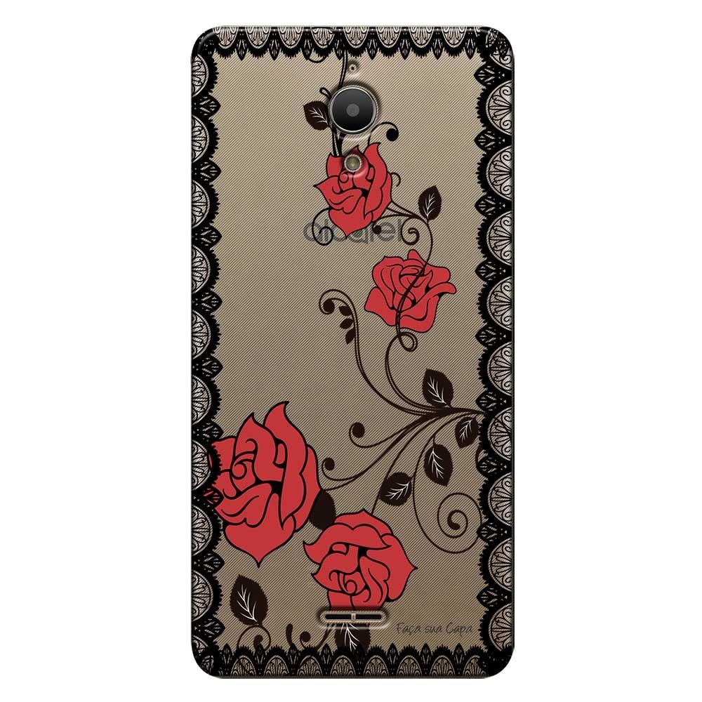 Capa Personalizada para Alcatel Pixi 4 6.0 Renda com Rosas - TP291