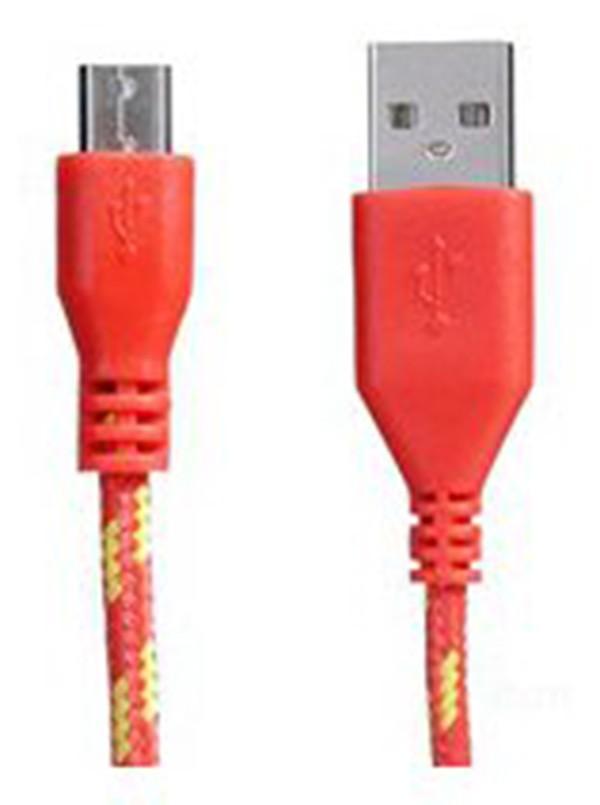 Cabo de Dados Estilo Corda Micro USB 2 Metros - Vermelho