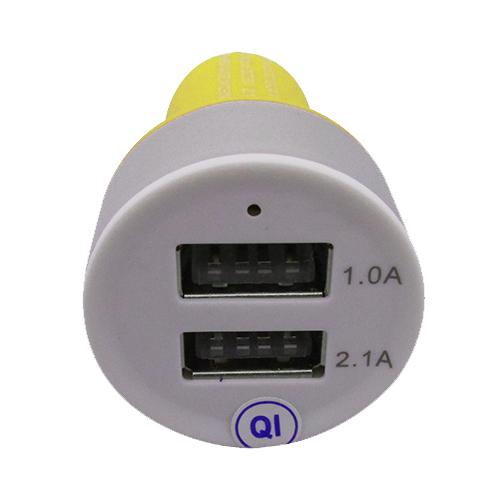 Carregador Veicular 2 Entradas USB - Amarelo