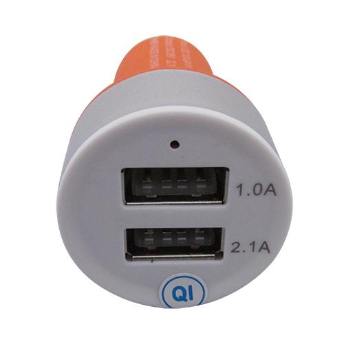 Carregador Veicular 2 Entradas USB - Laranja