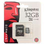 Cartão de Memória Kingston 32GB MicroSDHC com Adaptador SD (classe 10)