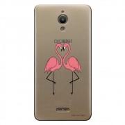 Capa Transparente Personalizada para Alcatel Pixi 4 6.0 Casal Flamingos - TP316