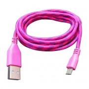 Cabo de Dados Estilo Corda Micro USB 2 Metros - Pink