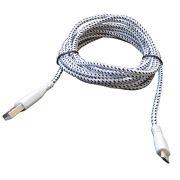 Cabo de Dados e Carregador Estilo Corda Micro USB 2 Metros - Branco