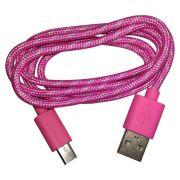 Cabo de Dados Estilo Corda Micro USB 1 Metro - Rosa