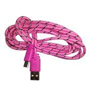 Cabo de Dados Estilo Corda Micro USB 2 Metros - Rosa Claro