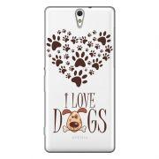 Capa Transparente Personalizada Exclusiva Sony Xperia C5 E5506 E5533 E5553 E5563 I Love Dogs - TP116