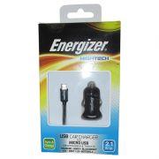 Carregador Veicular com Saída USB 2.1A e Cabo Micro USB Energizer para Celular Tablet - Preto