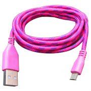 Cabo de Dados e Carregador Estilo Corda Micro USB 1 Metro - Pink