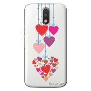 Capa Transparente Personalizada Exclusiva Motorola Moto G4 Plus Corações - TP160