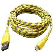 Cabo de Dados e Carregador Estilo Corda Para Iphone 5 5s 5c 6 6 Plus Amarelo - 1 Metro